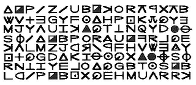 Premier tiers de Z408, le premier message chiffré envoyé par le « Tueur du zodiaque. © Zodiac Killer, wikimedia commons, DP