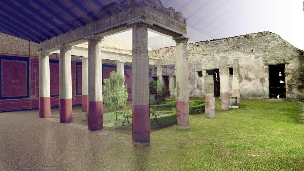 La villa de Diomède, à Pompéi, telle qu'elle était lorsque l'éruption du Vésuve a enterré la ville en 79 après J.-C. Un modèle numérique permet aujourd'hui aux archéologues de l'étudier ainsi, mais aussi de restituer l'historique des fouilles, des observations, des dégradations et des restaurations. © Iconem