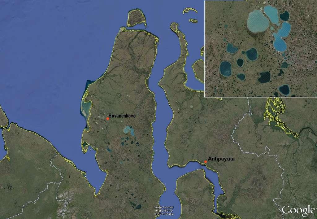 Le premier trou a été repéré sur la péninsule Yamal, au nord-ouest de la Sibérie, dans le district autonome Yamalo-Nenets, près de Bovanenkovo. Le deuxième a été repéré de l'autre côté du golfe de l'Ob, près d'Antipayuta. Sur la vignette en haut à droite montrant un agrandissement de la région au sud-est de Bovanenko, on remarque que la péninsule est constellée de lacs de différentes tailles. © Google Earth, Futura-Sciences