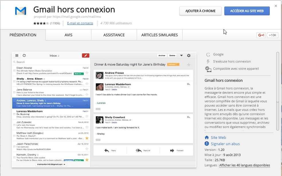 Le mode hors connexion de GMail nécessite une application qui n'est disponible qu'avec le navigateur Chrome. © Futura-Sciences