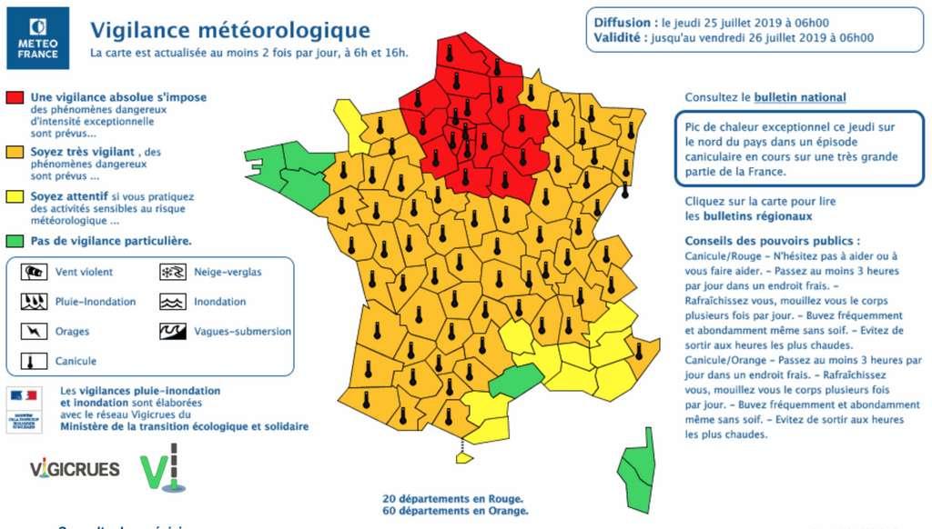 20 départements sont alerte rouge canicule, ce jeudi 25 juillet. © Météo France