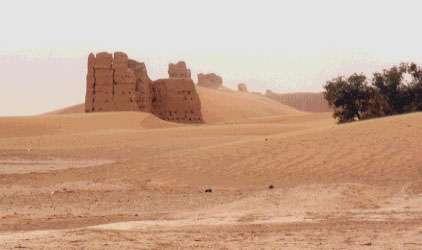 Ensablement des vestiges du Ksar de Chtem (Maroc) par des édifices sableux barkhaniques en forme de croissant