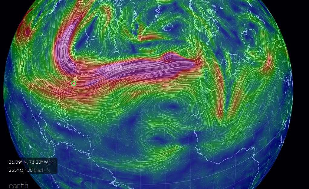 Sur cette carte, on peut observer la vitesse des vents à 500 hPa, le 27 février 2014. En violet, les régimes de vents les plus rapides mettent en évidence l'existence du courant-jet d'ouest en est entre 30 et 40° N. © earth.nullschool.net (capture d'écran)