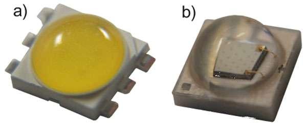 Boîtiers de Led CMS de puissance en résine (a) et en céramique (b). © Led Engineering Development