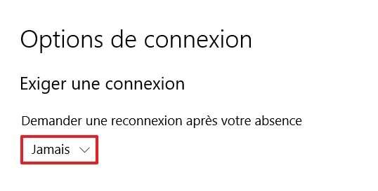 Choisissez « Jamais » dans le menu déroulant. © Microsoft