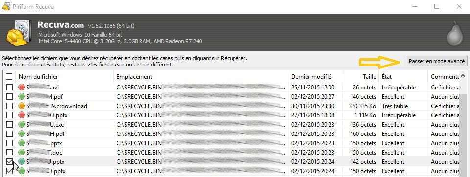 Recuva sait retrouver des fichiers qui ont été supprimés de la Corbeille ou d'autres emplacement du disque dur. Il indique par un code couleur quels sont ceux qu'il est en mesure de récupérer. © Futura-Sciences