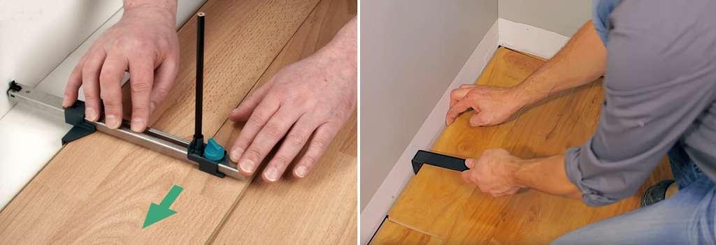 Réglable en largeur, le copieur parallèle permet de reporter avec précision le tracé du mur sur la lame de parquet. Une fois la lame retaillée, mettez-la en place en vous aidant du tire-lame pour l'emboîter. © Wolfcraft (photo de gauche), Rona (photo de droite)