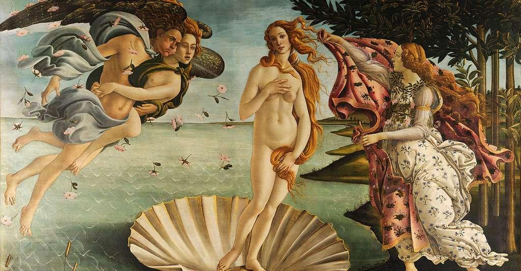 Les dimensions de La Naissance de Vénus de Sandro Botticelli respectent assez précisément la divine proportion. Il est pourtant très peu probable que cela indique une quelconque volonté de l'auteur. © Domaine public