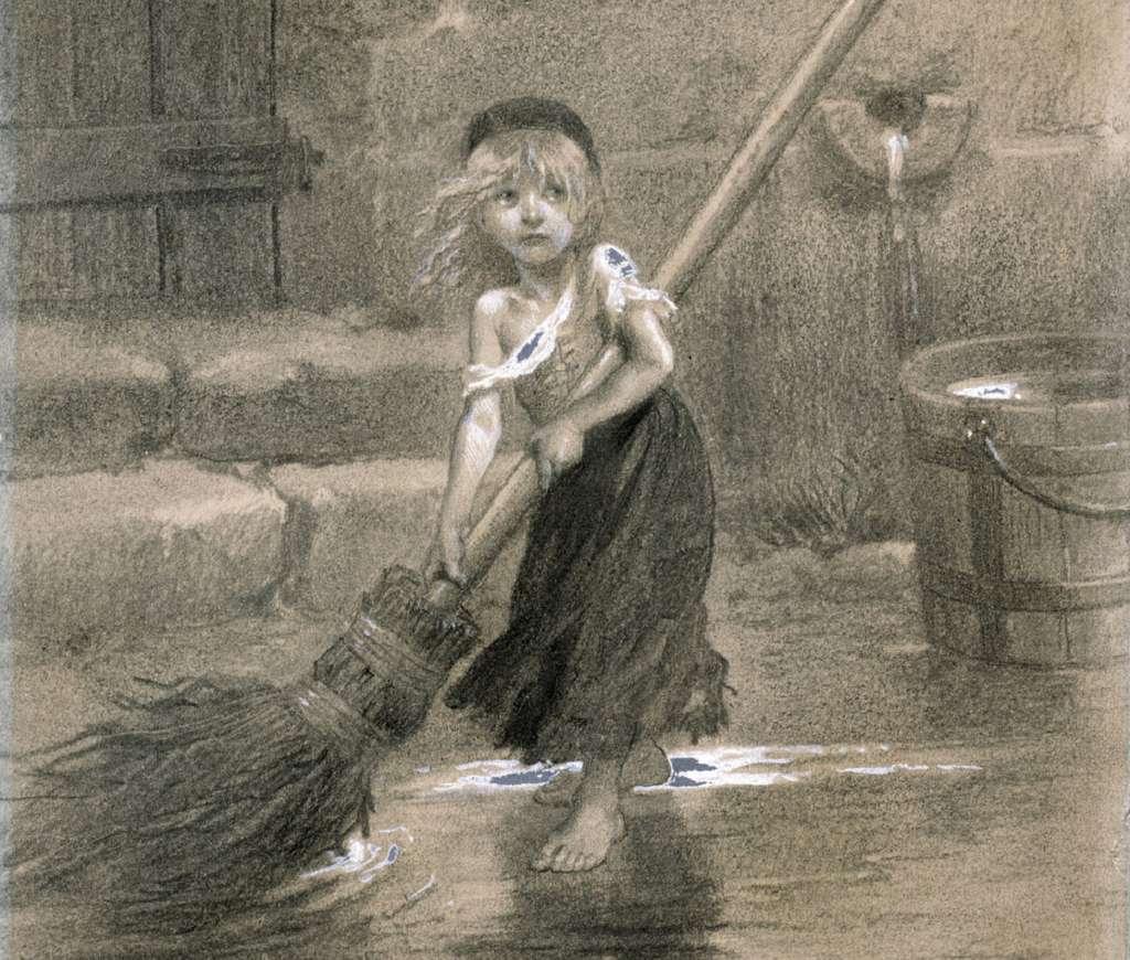 Cosette, dessin de Émile Bayard pour la première édition des Misérables de Victor Hugo, en 1862. © Wikimedia Commons, domaine public