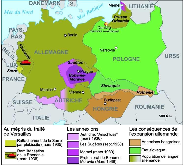 L'expansion allemande de 1935 à 1939. © historicair, Wikimedia Commons, CC by-sa 3.0