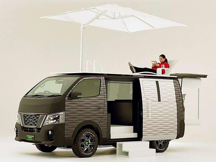 Le « toit terrasse du Caravan NV350 Office Pod Concept. © Nissan