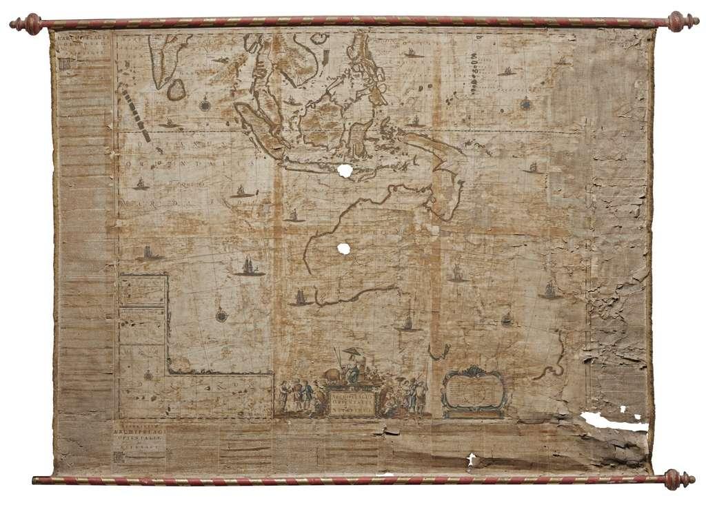 Carte de L'Archipel oriental ou asiatique, par Johannes Blaeu en 1659. Catalogue Sotheby's 2017. © Wikimedia Commons, domaine public