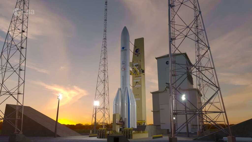 Ariane 6 sur son pas de tir du Centre spatial guyanais (ELA-4). © ESA