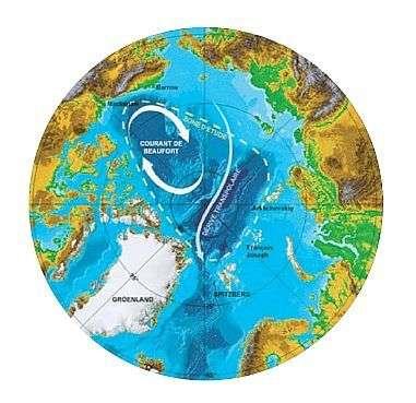 Les deux grands courants de glace qui parcourent l'Océan Glacial Arctique. Crédit: Total Pole Airship.
