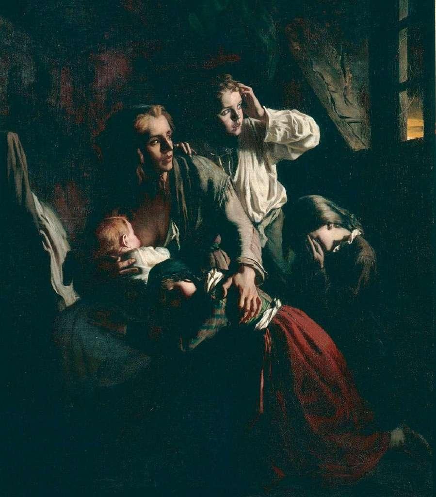 """""""L'éclair"""" d'Alexandre Antigna, (aspects de la misère urbaine au XIXe siècle). Musée d'Orsay, Paris. © RMN - Grand Palais / Philippe Bernard."""