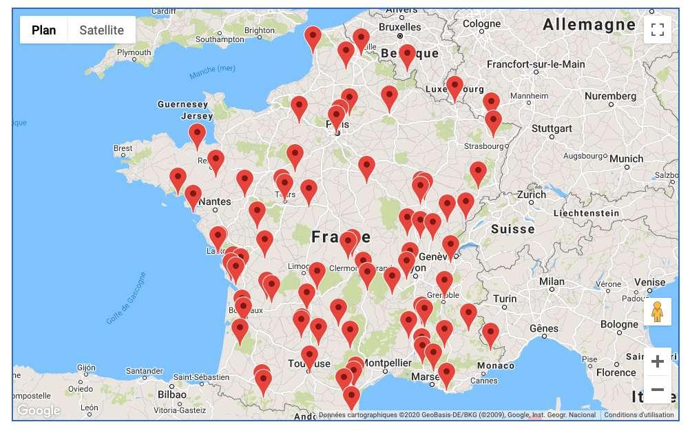 L'Association française d'astronomie met à disposition une carte des veillées d'observation organisées à l'occasion de cette 30e Nuit des étoiles. © Association française d'astronomie