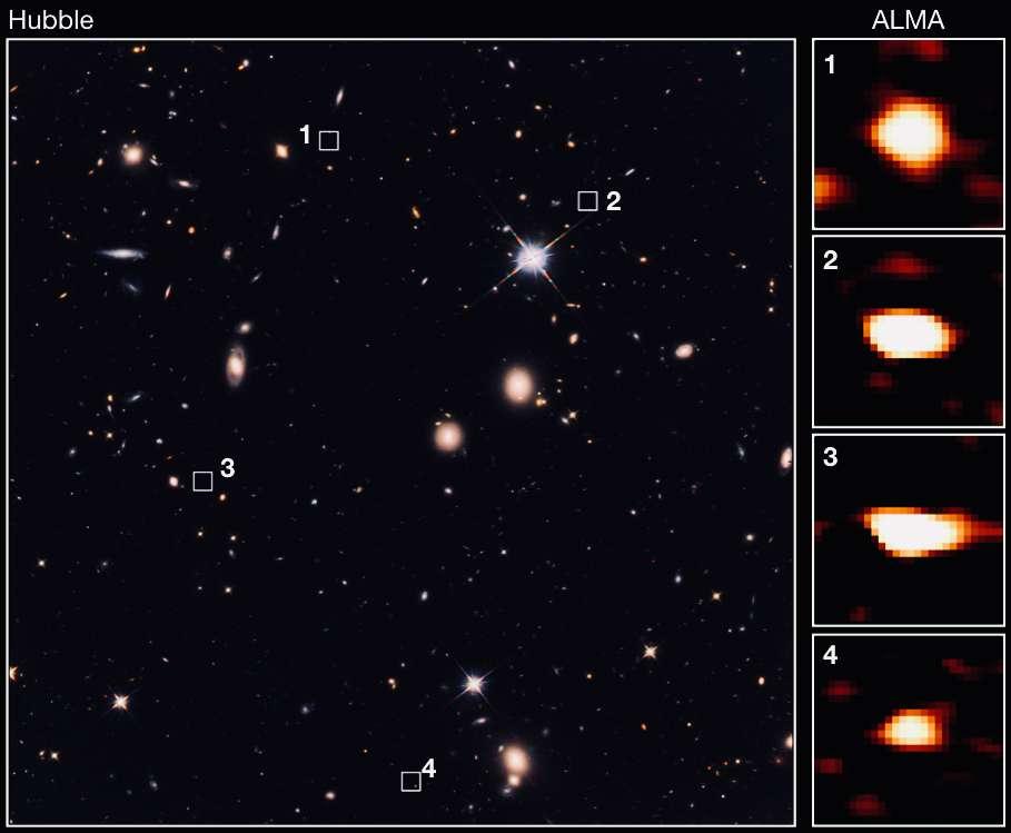 Quatre des galaxies noires découvertes grâce au télescope Alma et leurs positions dans une image Hubble. © The University of Tokyo/CEA/NAOJ