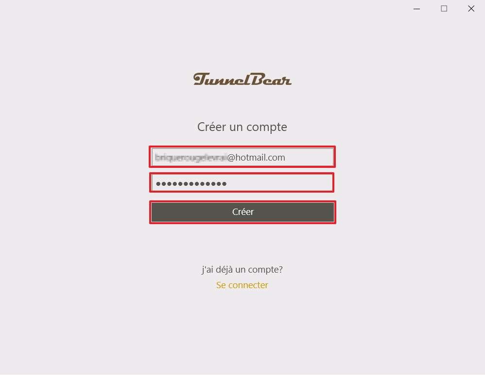 TunnelBear requiert la création d'un compte. © TunnelBear
