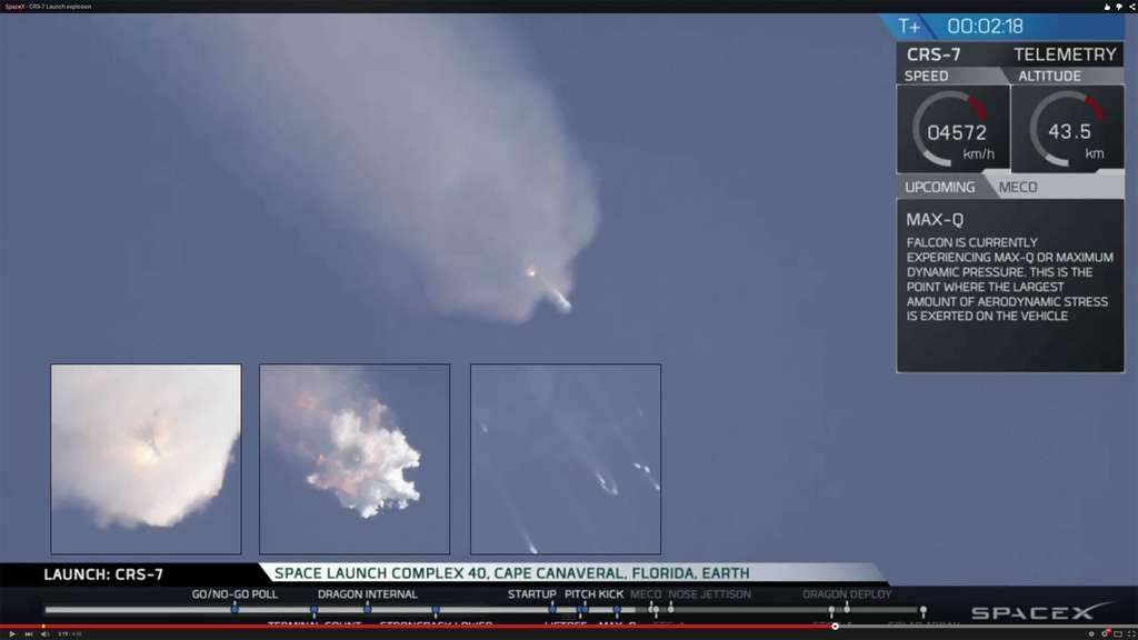 La capsule Dragon qu'il transportait à destination de la Station spatiale internationale a également été perdue. © SpaceX (capture TV)