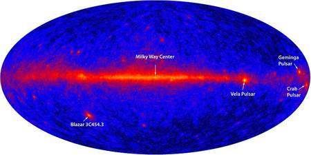 Le pulsar du Crabe fait partie des sources de rayonnement gamma les plus intenses du ciel, comme on peut le constater sur cette carte réalisée par le télescope spatial Fermi (GLAST). Crédit Nasa/DOE