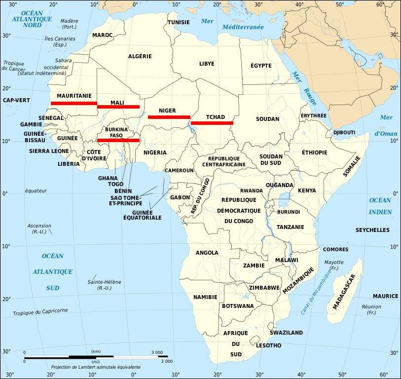 Pays du G5 Sahel. © Eric Gaba, Wikimedia commons, 1.2