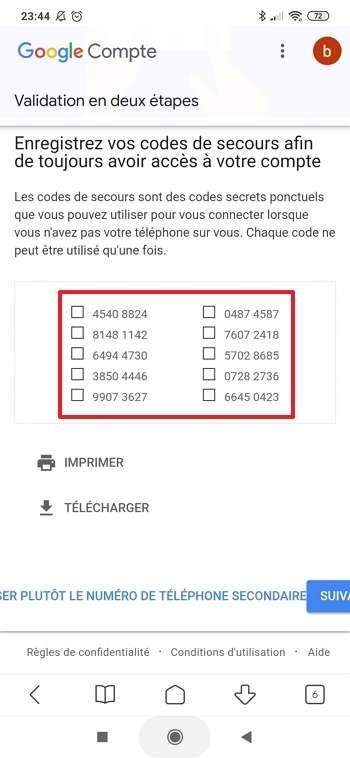 Google vous fournit des codes à usage unique si vous allez dans « Utiliser une autre option de secours ». © Google Inc.