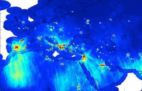 Carte de la pollution électromagnétique établie à partir des observations de Smos dès 2010. En rouge apparaissent les zones fortement émettrices dans la bande L et en jaune ou vert celles où ces émissions sont intermittentes. © Cesbio