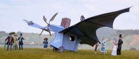 Reconstitution du premier vol de Clément Ader à bord de l'Éole. © Wikipédia Creative Commons