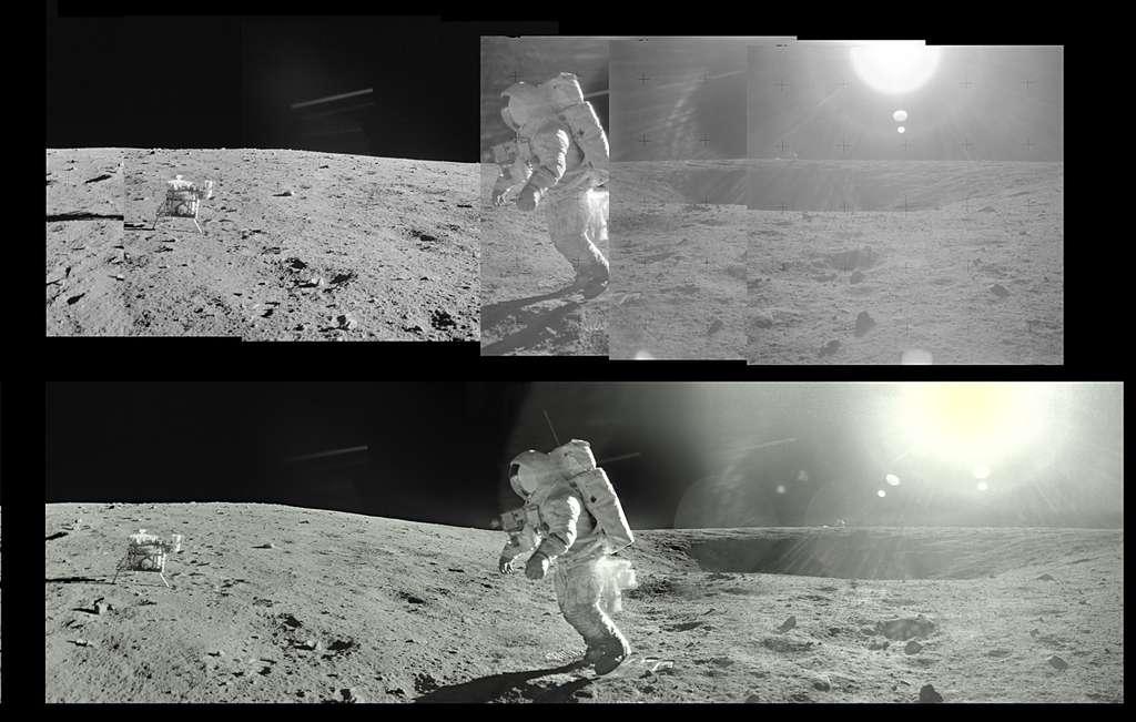 Alan Bean marche près du cratère Head, derrière lequel dépasse le haut du LM à droite (Apollo 12-EVA2). © Images Nasa/JSC, retraitements O. de Goursac - Tous droits réservés