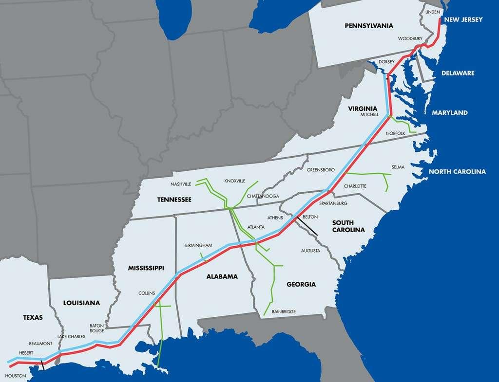 Colonial Pipeline Company relie les raffineries aux clients et aux marchés du sud et de l'est des États-Unis avec un réseau de pipelines qui s'étend sur plus de 8.800 km entre Houston, dans l'État du Texas, et Linden, au nord, dans le l'État du New Jersey. © Colonial Pipeline Company