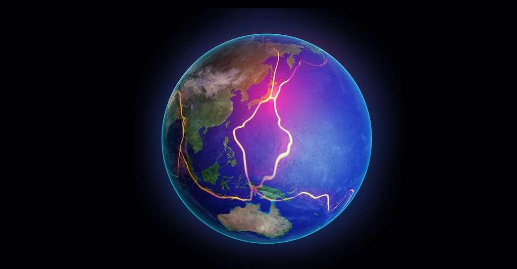 Lignes des plaques tectoniques dans l'Asie du Sud-Est. © Mopic, Shutterstock
