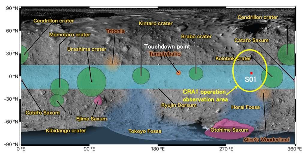 C'est là, dans la région S01 (éclipse jaune) que devrait tirer le projectile qui formera un cratère sur Ryugu, au cours de la première semaine d'avril. © Jaxa
