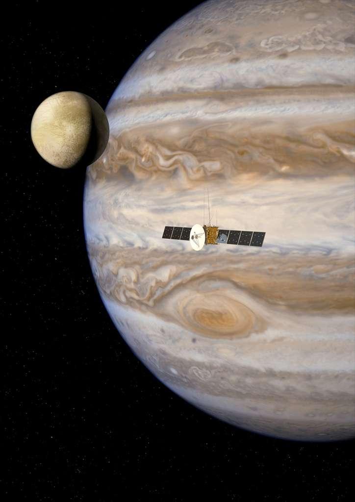 Après les sondes Voyager, l'exceptionnelle mission de Galileo et en attendant Juno, en route vers la géante gazeuse, Juice sera la quatrième sonde à s'intéresser à Jupiter et à certains de ses satellites. © Esa, AOES