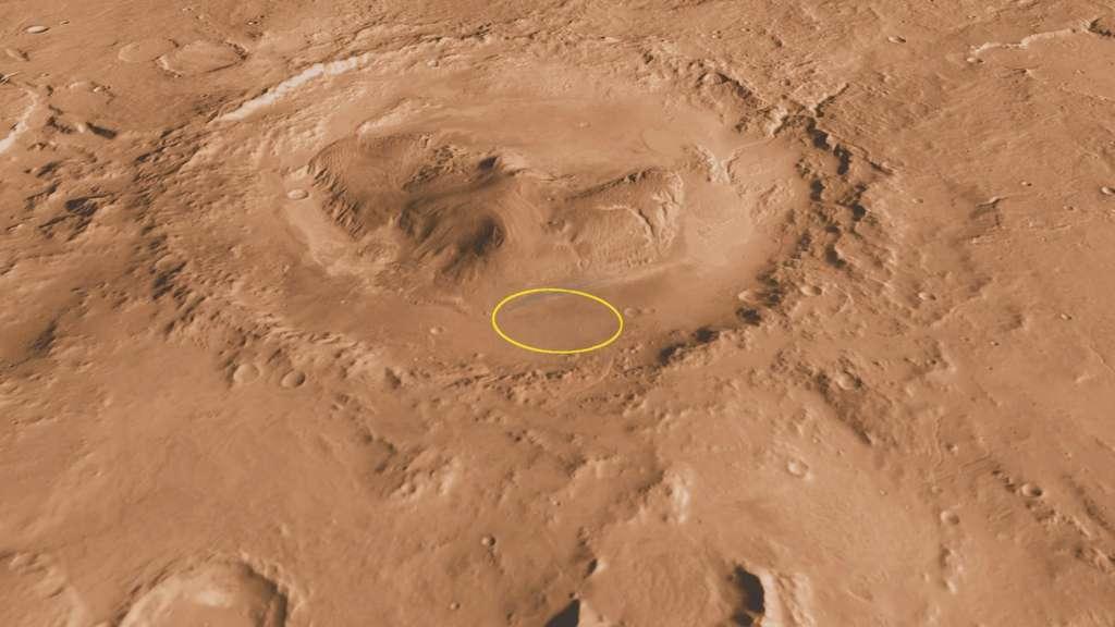 Pour la première fois, un rover réalisera un atterrissage de précision. Le nouveau système d'atterrissage utilisé par Curiosity permet de viser une ellipse de seulement 20 km, contre 70 pour les rovers Curiosity et Opportunity de la mission Mer. © Nasa/JPL-Caltech/ASU/UA