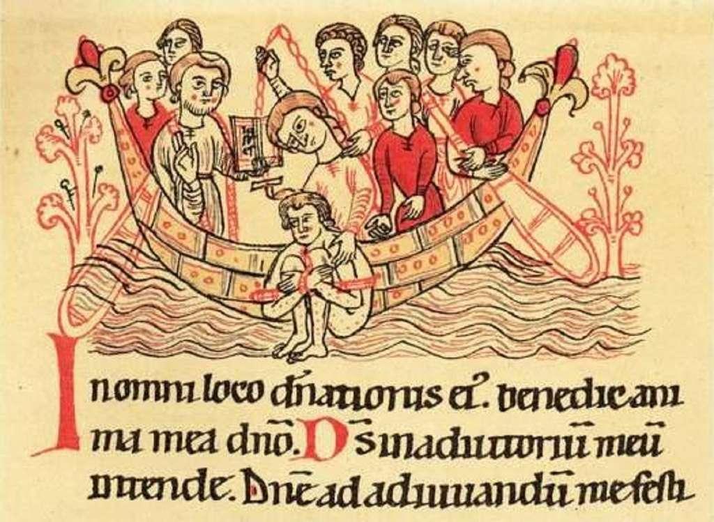Épreuve de l'ordalie par l'eau ; codex Lambacensis, XIIe siècle. © Bibliothèque de l'abbaye de Lambach, Autriche, Wikimedia Commons, DP