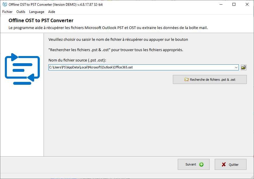 Sélectionnez le fichier OST à convertir. © OSTtoPST.online