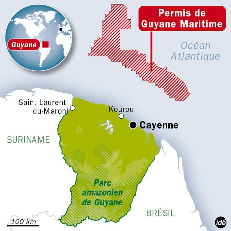 Le pétrole découvert par le consortium se situe à 150 km des côtes de la Guyane française. © idé