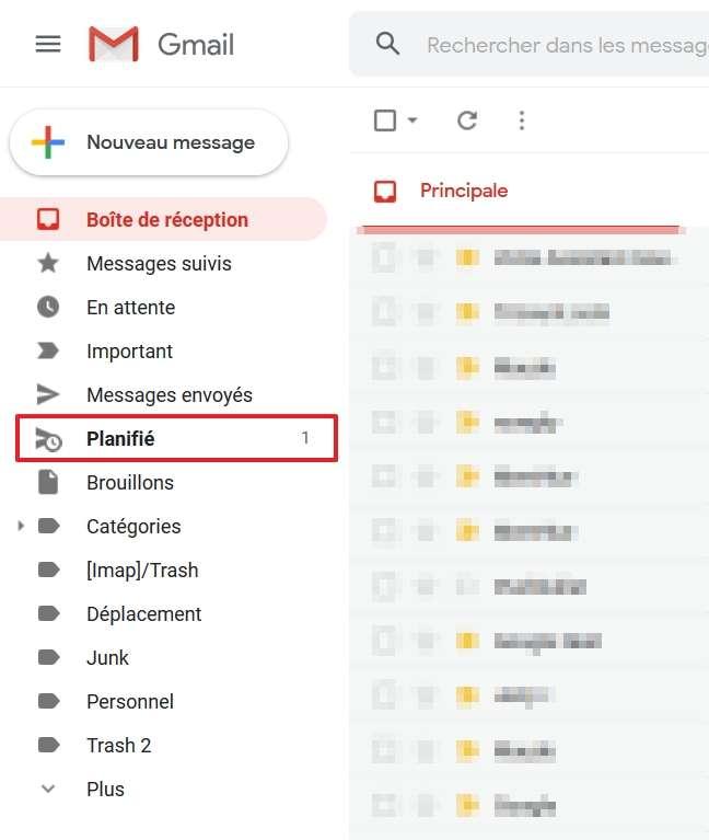 Allez dans le dossier « Planifié » pour visualiser les emails programmés qui n'ont pas encore été envoyés. © Google Inc.