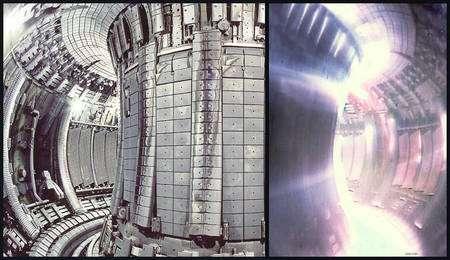 Cliquez pour agrandir. Le tokamak européen JET à gauche à l'arrêt et à droite en fonctionnement avec du plasma chaud. © BNES YGN