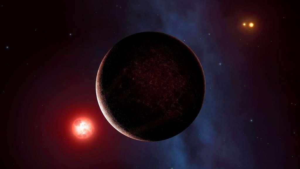 Illustration de Proxima b, l'exoplanète la plus proche de nous. Son soleil est une naine rouge sujette à de violentes colères. Bien que située dans la zone habitable, possède-t-elle encore une atmosphère qui protégerait d'éventuelles formes de vie ? © Nasa