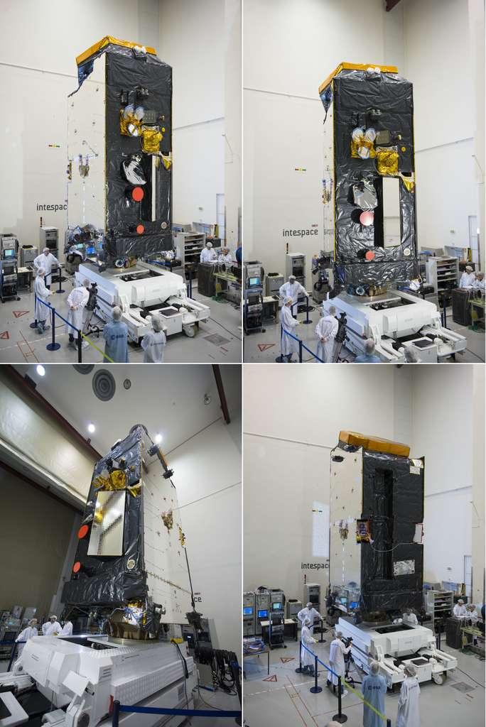 Le satellite Alphasat, sans ses panneaux solaires et sa grande antenne, dans les locaux d'Intespace pour y subir ses essais de performances radiofréquences en chambre anéchoïque (mars 2013). © S. Corvaja, Esa