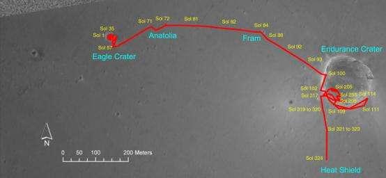 Fig. 5 Trajet du Rover Opportunity au 20 janvier 2005. cliquez ici pour agrandir