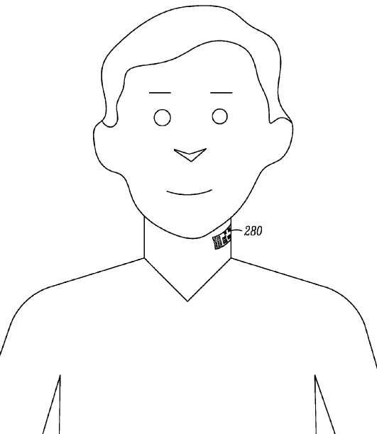 Dans son brevet déposé auprès de l'USPTO, Motorola Mobility décrit un tatouage électronique faisant office de microphone sans fil collé dans le cou. L'idée est d'optimiser la qualité des appels téléphoniques dans les environnements bruyants en utilisant un procédé de réduction et de filtrage des bruits parasites. © Motorola Mobility