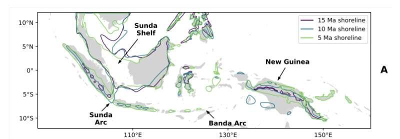 Les surfaces grisées représentent les terres actuellement émergées en Asie du Sud-Est. Les lignes colorées situent la position du littoral il y a 15, 10 et 5 millions d'années. © Insu