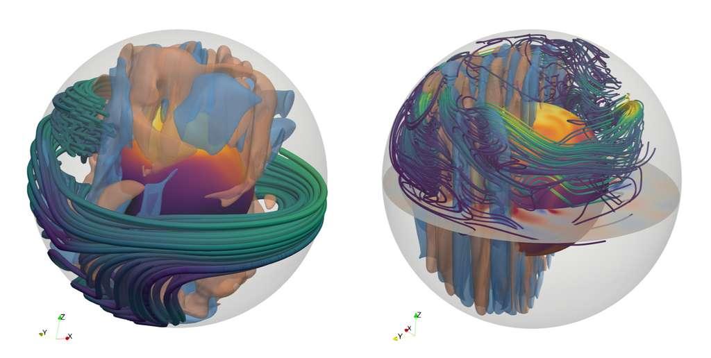 Représentation 3D des lignes de champ magnétique dans la zone convective à l'intérieur de l'étoile à neutrons. Les mouvements convectifs sont représentés par les surfaces bleues (correspondant à des mouvements vers l'intérieur) et rouge (vers l'extérieur). À gauche, le nouveau type de dynamo qui apparaît pour des rotations rapides (périodes de quelques millisecondes) et dont le champ magnétique dipolaire atteint 1015 G. À droite, pour des rotations plus lentes, le champ magnétique a une intensité jusqu'à dix fois plus faible. © Raphaël Raynaud, Jérôme Guilet, Christian Gouiffès