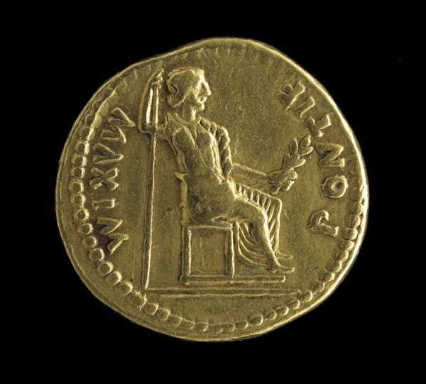 Monnaie ronde en or représentant Tibère