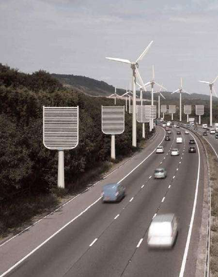 Au bord de cette autoroute, des éoliennes récupèrent l'énergie du vent et des arbres artificiels captent le dioxyde de carbone de l'air. Vision d'artiste de l'Institution of Mechanical Engineers.