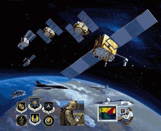 Représentation du système de radio navigation spatiale GPS accessible tant aux militaires qu'aux civils. Sous l'autorité de la 50eme escadrille spatiale, la 2eme escadrille spatiale (2d SOPS) surveille l'activité au quotidien les 24 satellites du réseau GPS depuis Schriever AFB. Elle dispose également d'une antenne (Det 1) à Cape Canaveral AFB © Documents Schriever AFB et A.F.Link.