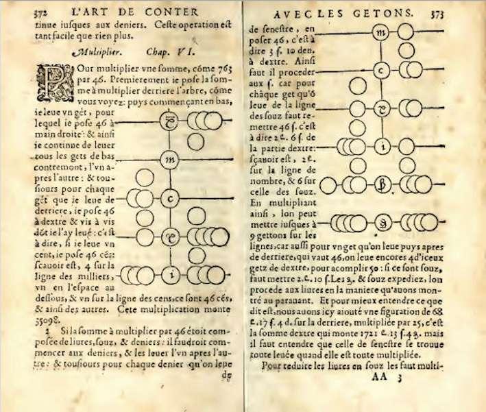 Extrait de « L'Arithmétique, l'Art de calculer aux Getons » de Jean Trenchant, pages 372 et 373. © revue.sesmath.net