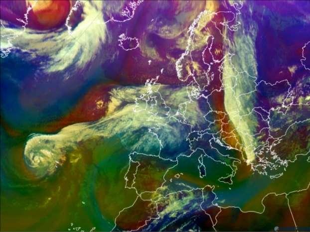 Image Météosat montrant Nadine au-dessus de l'océan Atlantique, le 20 septembre 2012 à 12 h TU. © Eumetsat